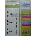 شارژر USB + سه راهی برق مدل Maxphone MH-M532